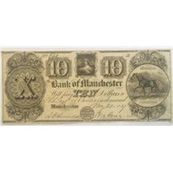 Bank of Manchester 1837 $10 I/C Obsolete Banknote Crisp Ch. VF Nice DWH