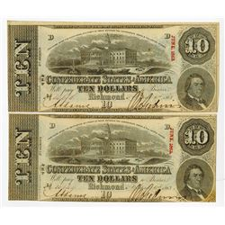 C.S.A.  1863 $10 T-59, Issued High Grade Pair of banknotes.