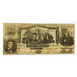 C.S.A. 1861 $20, CT-20/142 Counterfeit Confederate Banknote.