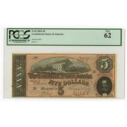 C.S.A., 1864, $5, T-69, PCGS Uncirculated 62.