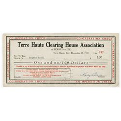 Terre Haute Clearing House Association - Co-Operation Check, 1932, $1 Issued Depression Scrip.