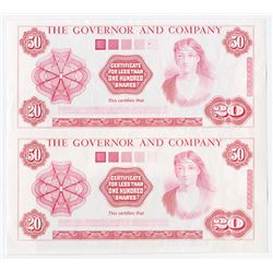 Governor and Company, ND (1970-90's) Advertising Banknote Proof Pair.