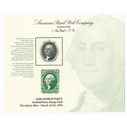 Lot of 45 ABNC Souvenir Cards, Portrait of George Washington used on 10 Cent U.S. Postage Stamp repr