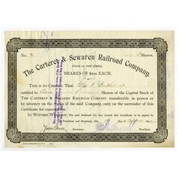 Cateret & Sewaren Railroad Co., 1892 Stock Certificate ITASB George F. Baker.