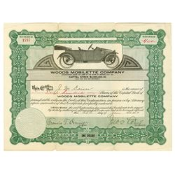 Woods Mobilette Co., 1914 Issued Stock Certificate