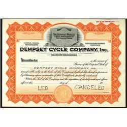 Dempsey Cycle Company, Inc., ca. 1910-20's Specimen Automobile Related Stock.