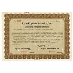 Rolls-Royce of America, Inc., 1919 Specimen Common Stock Voting Trust Certificate..