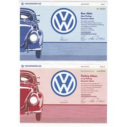 Volkswagen AG, 1991 Pair of Issued Stock Certificates