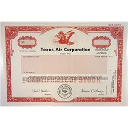 Texas Air Corp., 1990 Specimen Stock Certificate