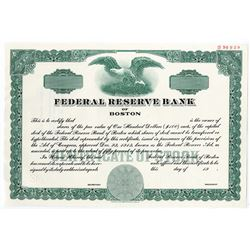 Federal Reserve Bank of Boston, 1983 Specimen Stock Certificate
