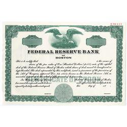Federal Reserve Bank of Boston, 1983 Specimen Stock Certificate