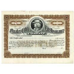 Quaker City Life Insurance Co., ca.1900-20 Specimen Stock Certificate.