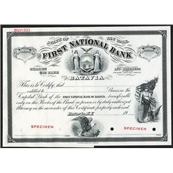 First National Bank of Batavia, 1900-1920 Proof Stock Certificate.