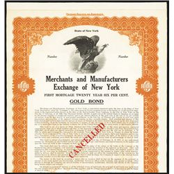 Merchants and Manufacturers Exchange of New York, 1910 Specimen Bond.