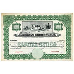 American Brewery, Inc., ca.1900 Specimen Stock Certificate.