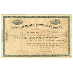 American Pacific Acoustic Co., 1888 Issued Stock Certificate