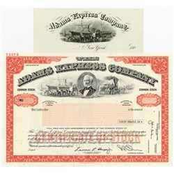 Adams Express Company Stock Pair with Matching Letterhead.