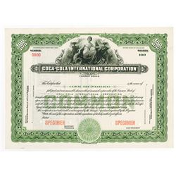 Coca-Cola International Corp., ca.1940-1950 Specimen Stock Certificate