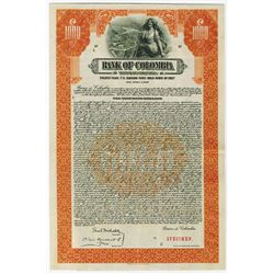 Bank of Colombia, 1927 Specimen bond.