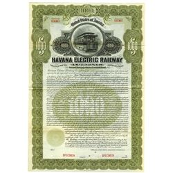 Havana Electric Railway Co. 1900 Specimen Bond.
