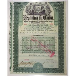 Republica de Cuba, 1905 Cancelled Bond