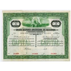 Union Hispano-American de Seguros, Specimen Stock Certificate
