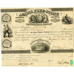 Acadia Free-Stone Quarrying and Manufacturing Co., 1853 Issued Stock Certificate.