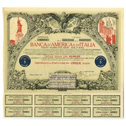 Banca D'America e d'Italia (Bank of America and Italy), Rome, 1923 Share Certificate.