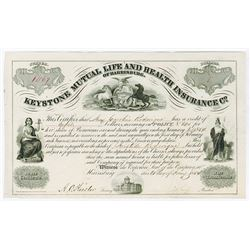 Keystone mutual Life and Health Insurance Co., of Harrisburg, 1854 Scrip Certificate.