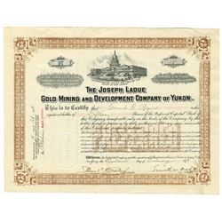 Joseph laDue Gold Mining and Development Co. of Yukon, 1898 Stock Certificate.