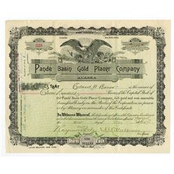 Pande Basin Gold Placer Co., 1898 Issued Stock Certificate.