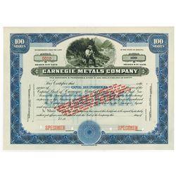 Carnegie Metals Co., 1932 Specimen Stock Certificate.