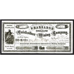 Kearsarge Consolidated Quicksilver Mining Co. 1875 Issued Shares.