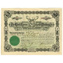 Buck Horn Gold Mining Co., 1896 Stock Certificate Cripple Creek Mining District.