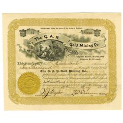 G.A.R. Gold Mining Co., 1896 Issued Stock Certificate