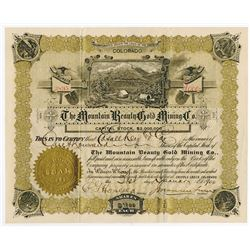 Mountain Beauty Gold Mining Co., 1900 Cripple Creek Stock Certificate