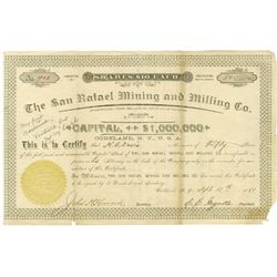 San Rafael Mining and Milling Co., 1889 I/U Stock Certificate