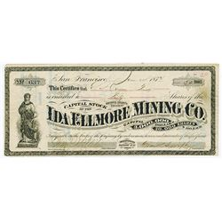 Ida Ellmore Mining Co., 1874 Issued Stock Certificate