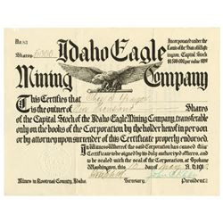 Idaho Eagle Mining Co., 1910 Issued Stock Certificate
