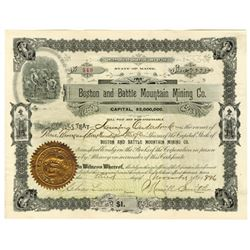 Boston and Battle Mountain Mining Co., 1896 Issued Stock Certificate