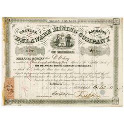 Delaware Mining Co., 1863 Stock Certificate.