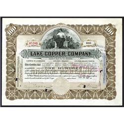 Lake Copper Company 1922  Issued Stock Certificate Signed by William A. Paine as President.
