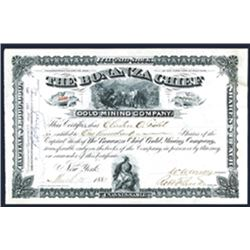 Bonanza Chief Gold Mining Co., 1881 Issued Stock Certificate.