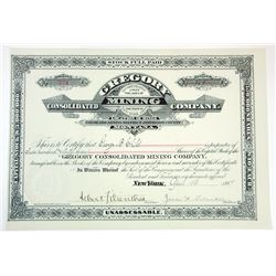 Gregory Consolidated Mining Co., 1887 Issued Stock Certificate