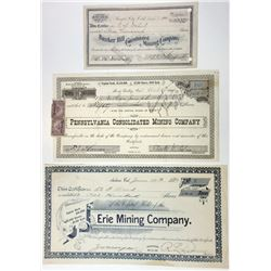 Trio of Issued and Cancelled Mining Stock Certificates, 1892-1904