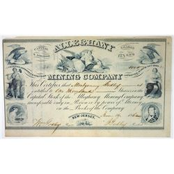 Alleghany Mining Co., 1862 Issued Stock Certificate.