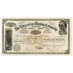 Yuscaran Mining Co. of New York, 1886 Issued Stock Certificate