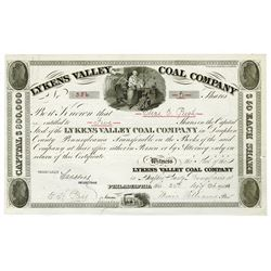 Lykens Valley Coal Co., 1905 (Using 1840-50s Form) Stock Certificate.