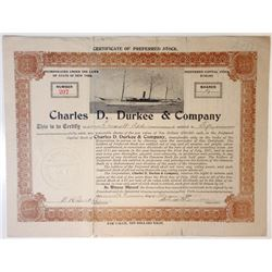 Charles D. Durkee & Co. 1913 issued Preferred Stock Certificate.