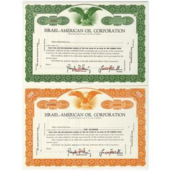 Israel-American Oil Corp. 1959 Specimens Stock Certificate Pair.